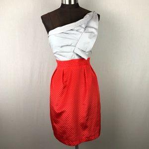 Esley One Shoulder Silver Red Ruffle Midi Dress
